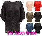NEW LADIES FUR KNITTED BATWING JUMPER DRESS TOP WOMENS ONE SIZE 8 10 12 14