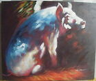 "IMPRESSIONIST FARM PIG ART OIL PAINTING 20x24"" STRETCHED"
