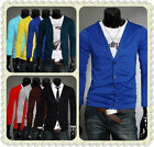 8 Colors  Men's Long Sleeves Knitwear Slim Fit V-neck  Cardigan Sweater4 size