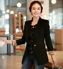 Casual Vogue Womens Suit Long Sleeve Blazer Solid Leopard Lining One Button New