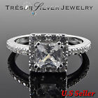 womens sterling silver clear cz cubic zirconia engagement ring size 5 6 7 8 9 10