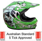 KIDS HELMET 4 DIRT BIKE PEEWEE QUAD MOTOCROSS S M L GREEN SKULL 5 tick approved
