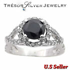 sterling silver womens black cubic zirconia cz engagement ring size 5 6 7 8 9