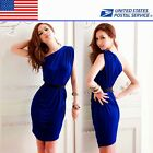 Sexy Womens Mini Dress One shoulder Solid Tunic Cocktail Party US Local Shipment
