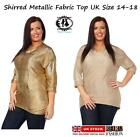 WOMAN CURVE PLUS SIZE 14-18 SHINY METALLIC GOLD BLOUSE TOP TUNIC DRESS PARTY VTG