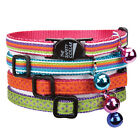 """NYLON w/ RIBBON CAT COLLAR - Adjusts to 8""""-12"""" Matching Bell Safety Clasp Asst"""
