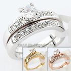 A1-R200 Fashion Engagement Ring Wedding Band Set 18KGP Rhinestone Crystal