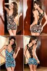 Valentines Blue Leopard Womens Lingerie Underwear Babydoll Clubwear Mini Dress