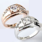 A1-R063 Men's Solitaire Band Fashion Ring 18KGP use Swarovski Crystal