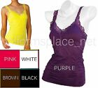 Lady TANK TOP WRINKLED CAMISOLE Sleeveless T-Shirt Workout Yoga Tops lace strap