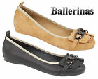 Ladies Casual Flat Metal Trim Women Ballerina Slipper Loafer Slip On Pumps Shoes