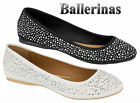 Ladies Casual Flat Diamante Women Ballerina Slippers Loafers Slip On Pumps Shoes