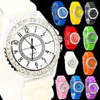 Ladies Women Men Casual Sport Crystal Silicone Silicon Jelly Rubber Wrist Watch