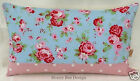 Cath Kidston Rosali Floral Blue Dotty Bolster cushion cover with concealed zip
