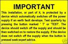 Electrical Safety RCD Test Labels