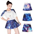 Women's Galaxy Space Universe Cosmic Sky clouds pattern Stretch Waist Puff skirt