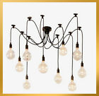 10 Lights - Edison Chandelier Pendant Lamp Ceiling Light  Bulbs Remote Control