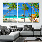 Palm Tress & Beach Huts On Quality Canvas Art Prints Choice Of Clock Huge Sizes