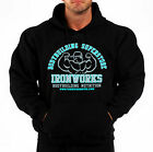 BODYBUILDING CLOTHING HOODIE WORKOUT  TOP BLACK TEAM IRONWORKS LOGO G-56