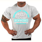 GREY  BODYBUILDING T-SHIRT WORKOUT  GYM CLOTHING