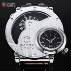 Shark Army Oversized Dual Time Russian Military Leather Wrist Quartz Watch UK