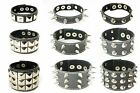 Black Leather Gothic Punk Stud Spike Bracelets Wristbands Cuffs for Men