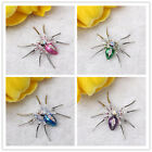Silver tone alloy Spider Crystal Rhinestone Clip Brooch Pin elegant 4 colors