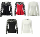 New Womens Sexy Party Evening Lace Long Sleeve Celebrity Style Peplum Tops