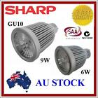 6W/9W LED COB MR16 240V GU10 SHARP DOWNLIGHT SPOTLIGH CEILING COOL WARM WHITE