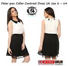 LADIES PETER PAN COLLAR CONTRAST DRESS BLOUSE TOP SHIFT TUNIC SKATER TWO TONE
