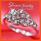 18K WHITE GOLD GF R239 CELTIC FILIGREE LAB DIAMOND BRIDAL GIFT LADIES SOLID RING