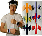 3 three TONE STRIPE red white blue Sports Band HeadBand WristBand Sweatband set