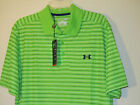 NWT $55 UNDER ARMOUR MENS HG DRAW STRIPE PIQUE GOLF POLO LOOSE FIT 1236342 GREEN