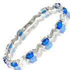 Charming! Fine Clear Topaz 18K White Gold Gp Tennis Bracelet Jewelry
