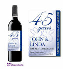 PERSONALISED 45th SAPPHIRE WEDDING ANNIVERSARY WINE or CHAMPAGNE LABEL