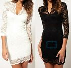 Fashion Women Sexy V-neck Lace Slim Ladies Cocktail Clubbing Party Mini Dress -r