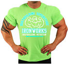 LIME GREEN  BODYBUILDING T-SHIRT WORKOUT  GYM CLOTHING