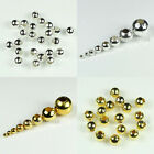2mm,2.4mm,3.2mm,4mm,5mm,6mm,8mm,10mm Round Metal Spacer Beads Silver/Gold Plated