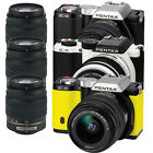 Pentax K-01 Digital Camera w/ 18-55mm & 50-200mm Lenses (Black, White, Yellow)