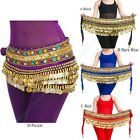Belly Dance Chain Hip Scarf Skirt Costume Wrap Gold Coins Band Gemstone Velvet