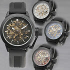 NEW ARRIVAL MEN'S Auto Mechanical Wrist Watch Skeleton Dial BIG Button Rubber 4