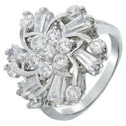 NEW LIST! ROUND CUT 18K WHITE GOLD PLATED WHITE TOPAZ COCKTAIL Ring Size 6/7/8