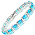 Charming! 18K White Gold Plated Gp Tennis Bracelet Jewelry Gift