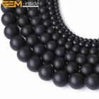 Natural Genuine Black Brazil Agate Gemstone Matte Beads For Jewelry Making 15""