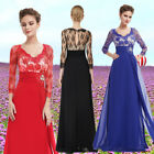 Ladies Vintage 3/4 Sleeve Lace Long Winter Evening Prom Dress Formal Gown 09053