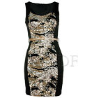 LADIES WOMENS SLEEVELESS TOP GOLD SEQUIN CONTOUR BELTED BODYCON PENCIL DRESS