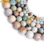 "Natural Stone Round Amazonite Quartz Beads For Jewelry Making 15"" Multicolor"