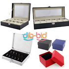 6/10/12 Grid Slots Wrist Watches Gift Case Jewelry Storage Holder Display Boxes