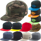 Dickies Hats Snap back Flat Visor Baseball Cap Cotton camo, solid color, 2 tone