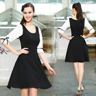 Ever Pretty Bowtie Long Sleeve Scoop Neck Black And White Casual Dress 03827